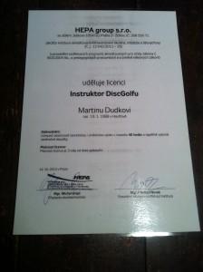 Certifikát instruktor dicsgolfu